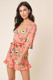CORAL FLORAL RUFFLE HEM PLAYSUIT SIZE 8, 10, 12, 14